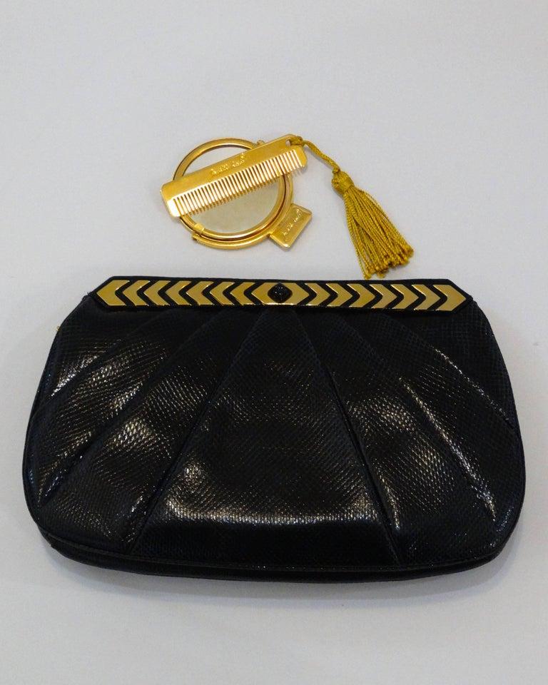 1980s Judith Leiber Black Snakeskin Evening Bag 4