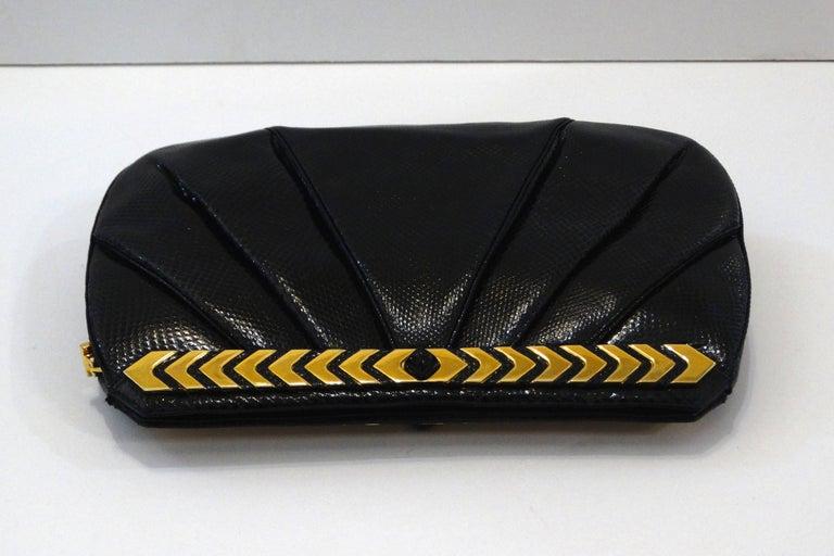 1980s Judith Leiber Black Snakeskin Evening Bag 6