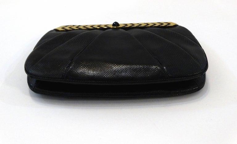 1980s Judith Leiber Black Snakeskin Evening Bag 7