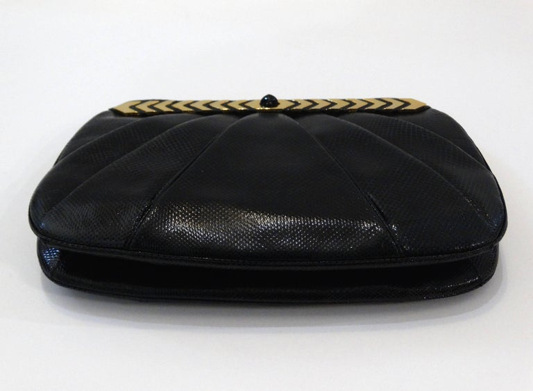 1980s Judith Leiber Black Snakeskin Evening Bag 8