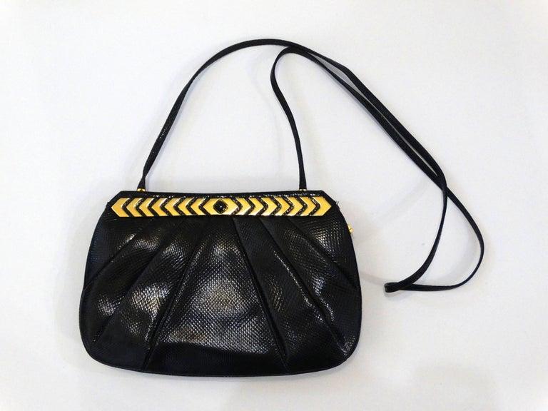 1980s Judith Leiber Black Snakeskin Evening Bag 9