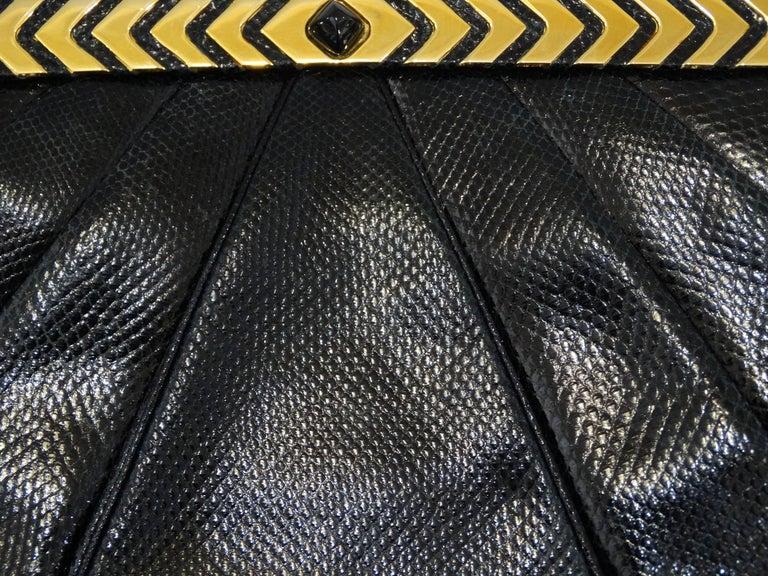 1980s Judith Leiber Black Snakeskin Evening Bag 10