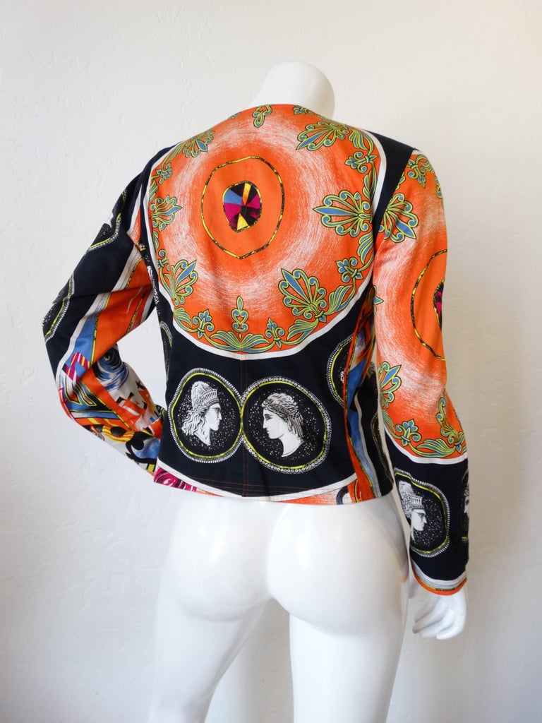Early 1980s Versace Greek Medallion Printed Jacket  In Excellent Condition For Sale In Scottsdale, AZ