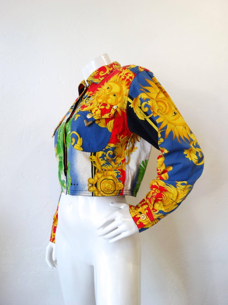 27d36338ef5f Brown Gianni Versace Baroque Sun Miami Print Jeans Jacket Spring 1993 For  Sale