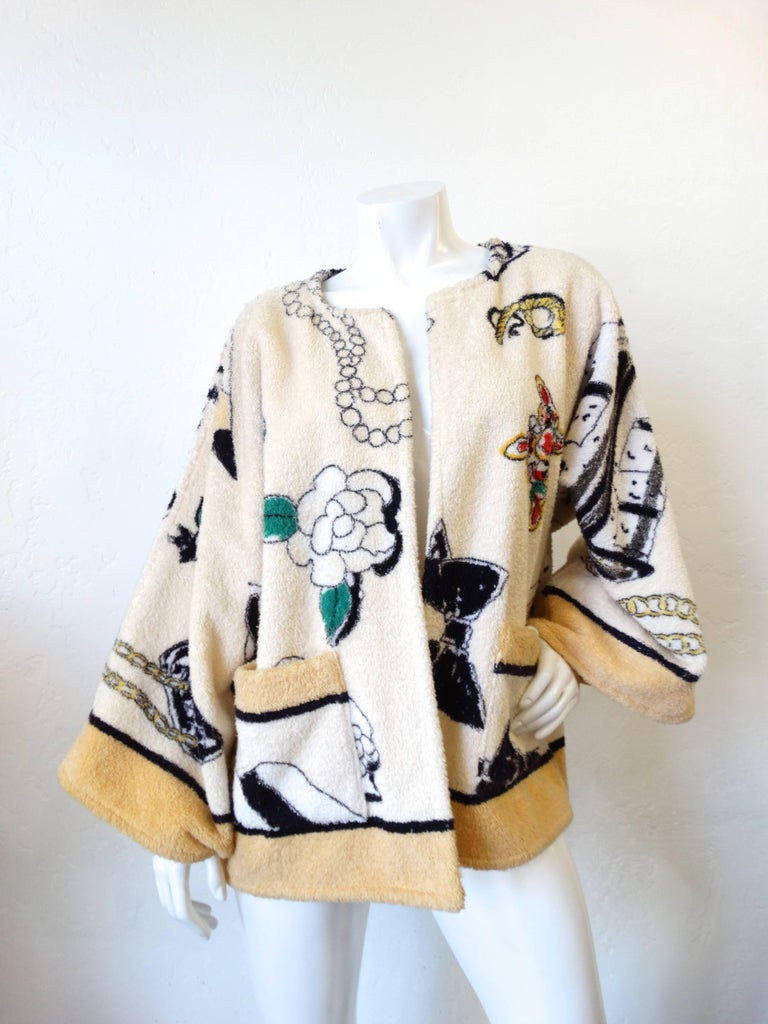 "1994 Spring/Summer Chanel ""Iconic"" Print Terrycloth Beach Wrap/Robe In Excellent Condition For Sale In Scottsdale, AZ"