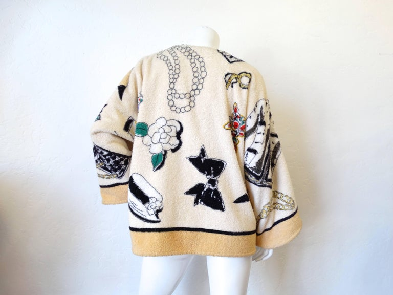 "Women's or Men's 1994 Spring/Summer Chanel ""Iconic"" Print Terrycloth Beach Wrap/Robe For Sale"