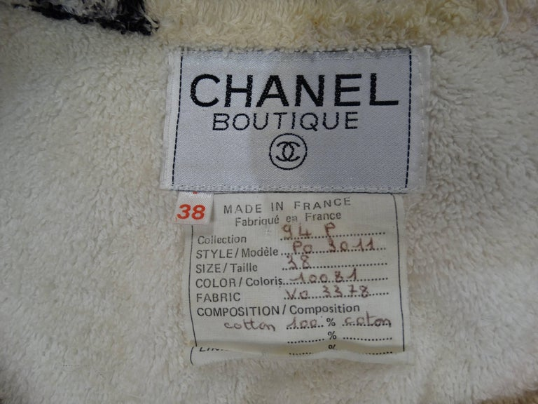 "1994 Spring/Summer Chanel ""Iconic"" Print Terrycloth Beach Wrap/Robe For Sale 1"