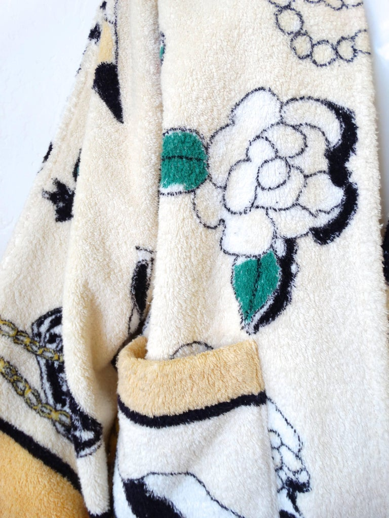 "1994 Spring/Summer Chanel ""Iconic"" Print Terrycloth Beach Wrap/Robe For Sale 2"