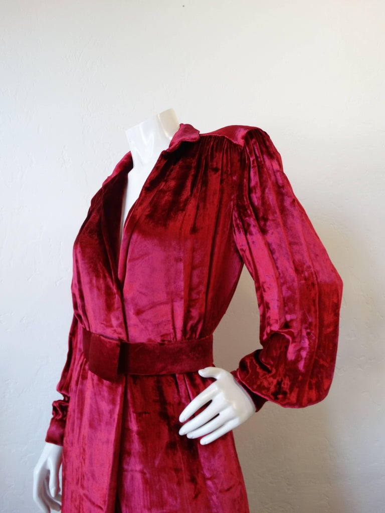 Red 1980's William Travilla Crushed Velvet Dress  For Sale