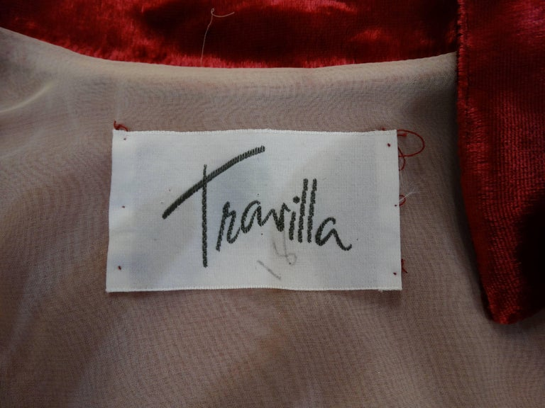 1980's William Travilla Crushed Velvet Dress  In Excellent Condition For Sale In Scottsdale, AZ