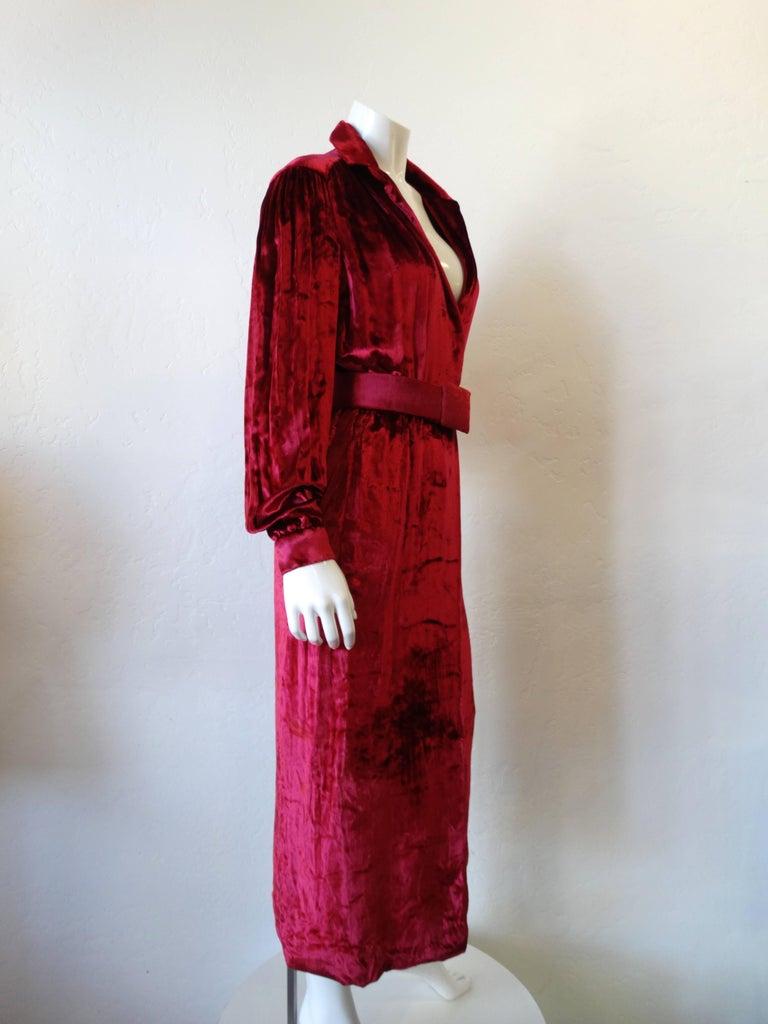 1980's William Travilla Crushed Velvet Dress  For Sale 1