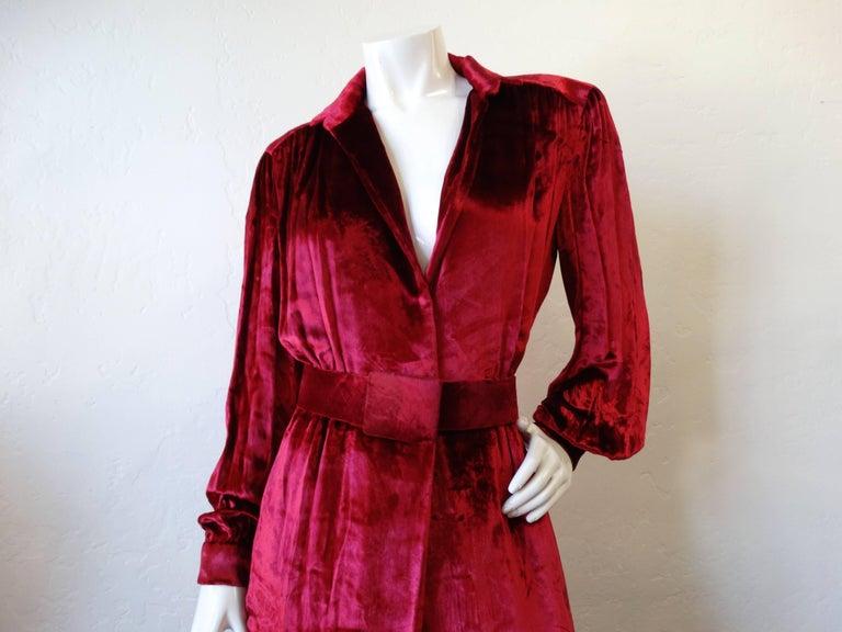 1980's William Travilla Crushed Velvet Dress  For Sale 2