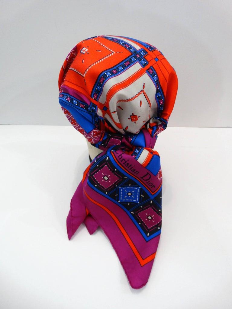 1980s Christian Dior Jewel Silk Scarf For Sale 1