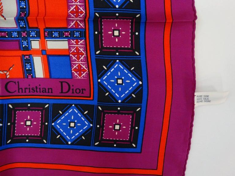 1980s Christian Dior Jewel Silk Scarf For Sale 2