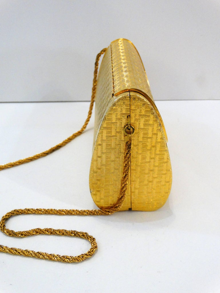 1960s Saks Fifth Avenue Gold Metal Evening Bag 9