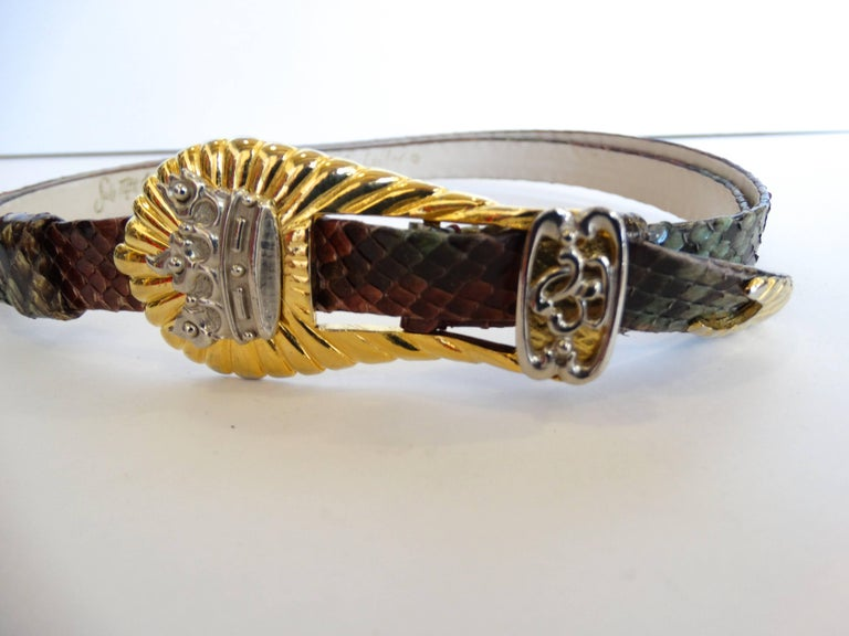 1980s Judith Leiber Snakeskin Buckle Belt  In Excellent Condition For Sale In Scottsdale, AZ