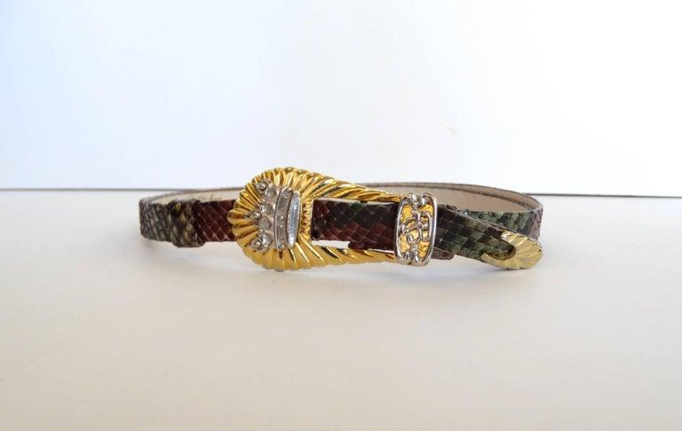 Women's 1980s Judith Leiber Snakeskin Buckle Belt  For Sale