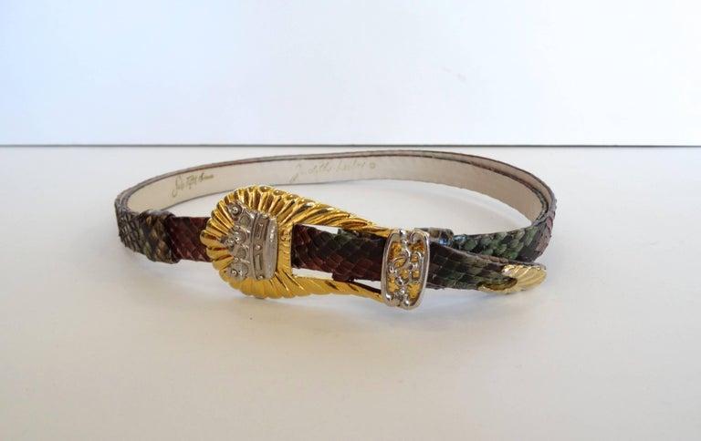 1980s Judith Leiber Snakeskin Buckle Belt  For Sale 1