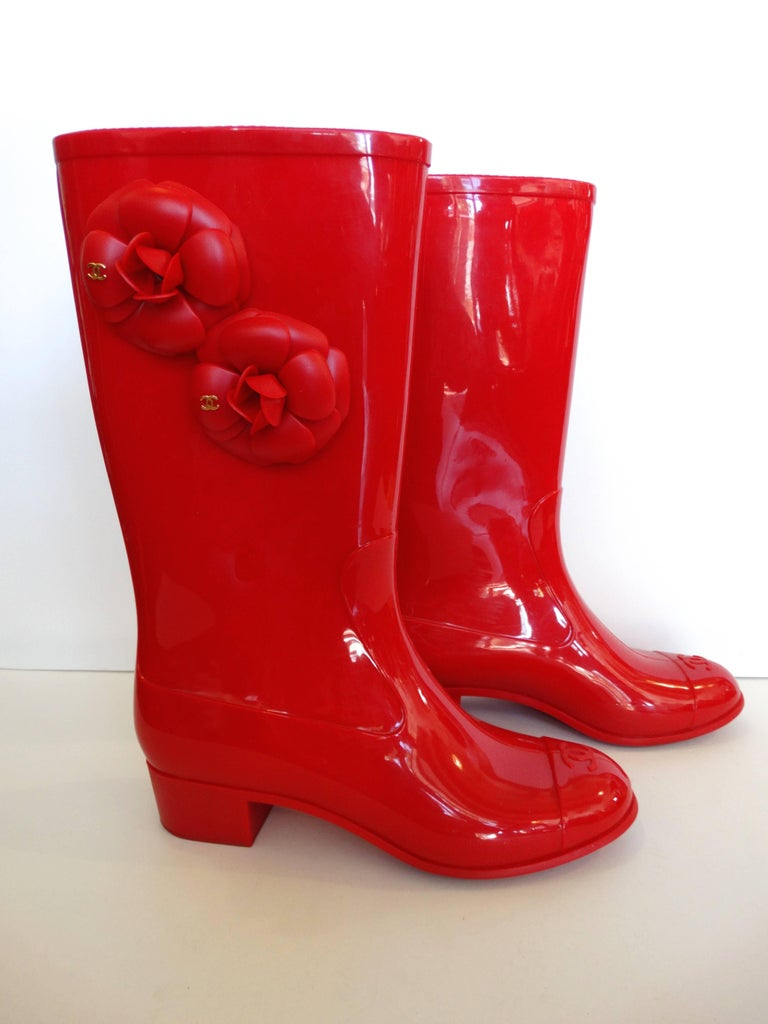 Chanel Red Camellia Flower Wellies  For Sale 1