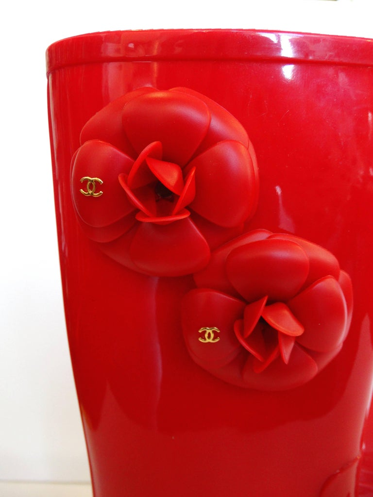 Chanel Red Camellia Flower Wellies  For Sale 3
