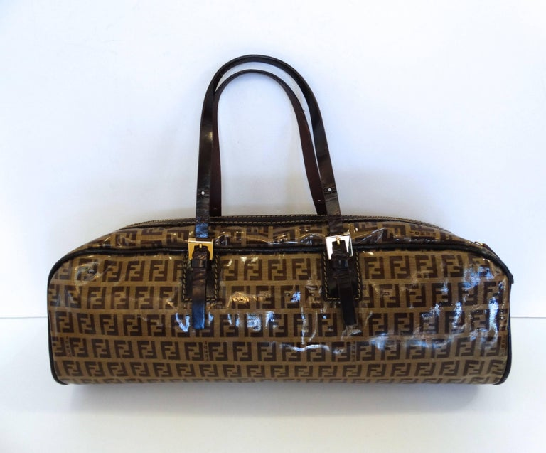 Fendi Glossy Vinyl Zucchino Monogram Bag In Excellent Condition For Sale In Scottsdale, AZ