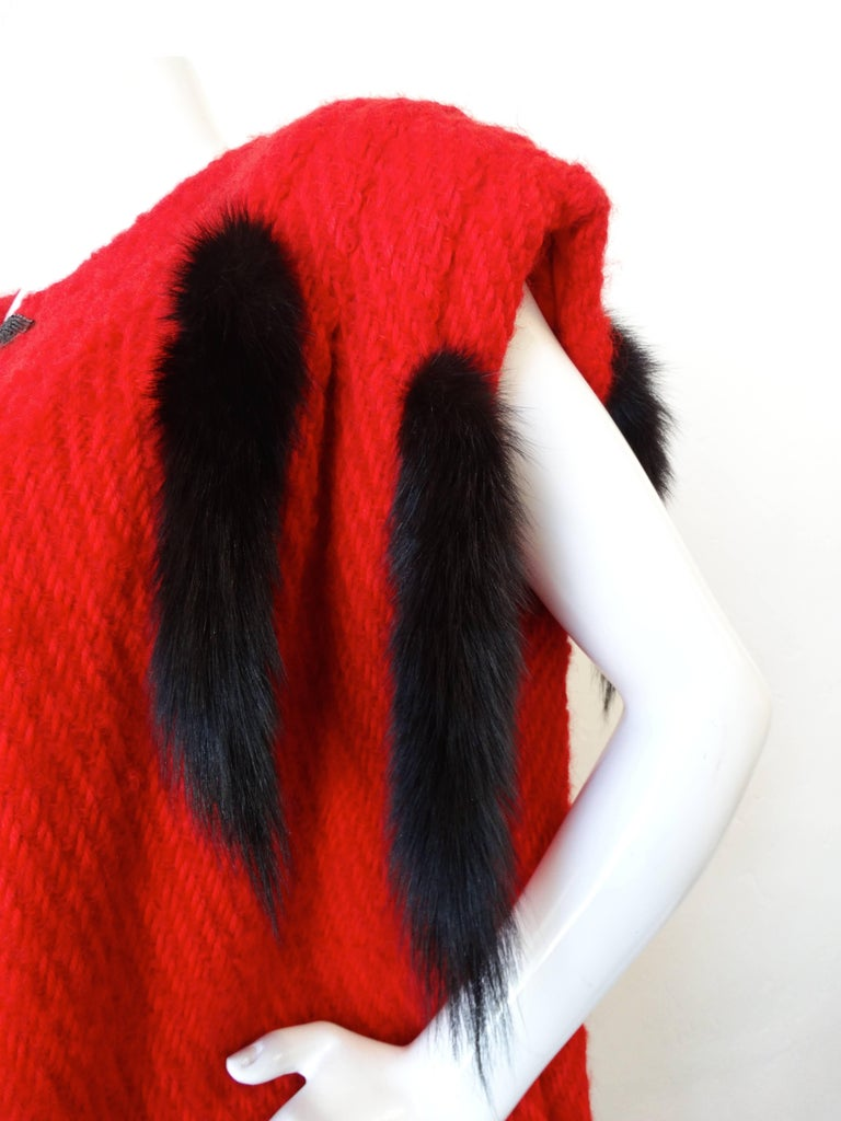 1980s Silver Lining Red Knit Mink Tail Vest In Excellent Condition For Sale In Scottsdale, AZ