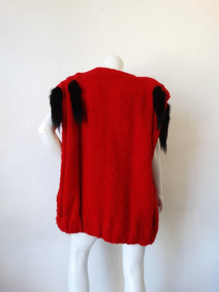 1980s Silver Lining Red Knit Mink Tail Vest For Sale 1