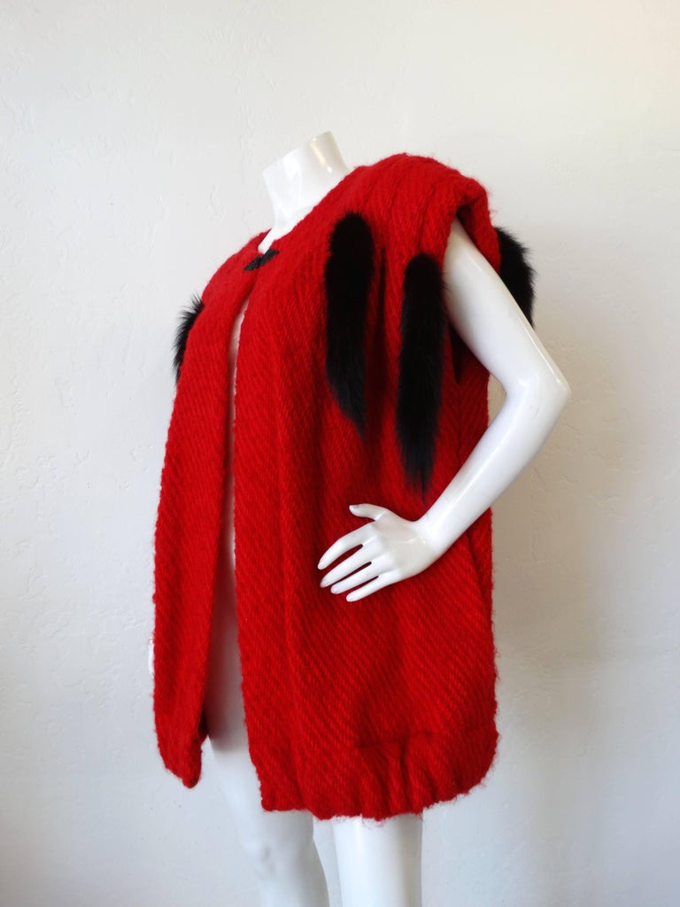 1980s Silver Lining Red Knit Mink Tail Vest For Sale 2