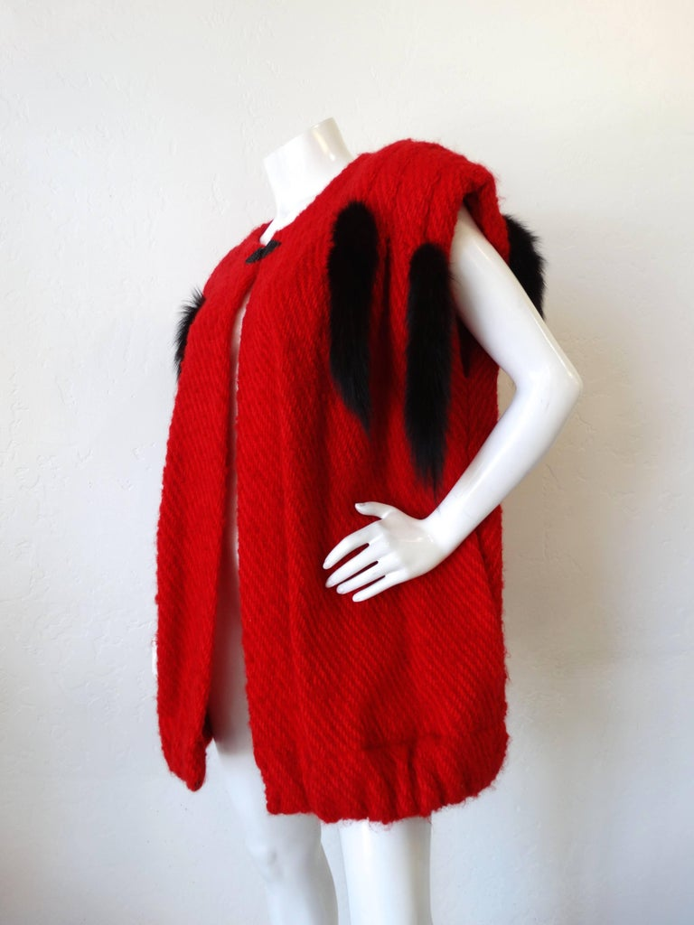 1980s Silver Lining Red Knit Mink Tail Vest For Sale 3