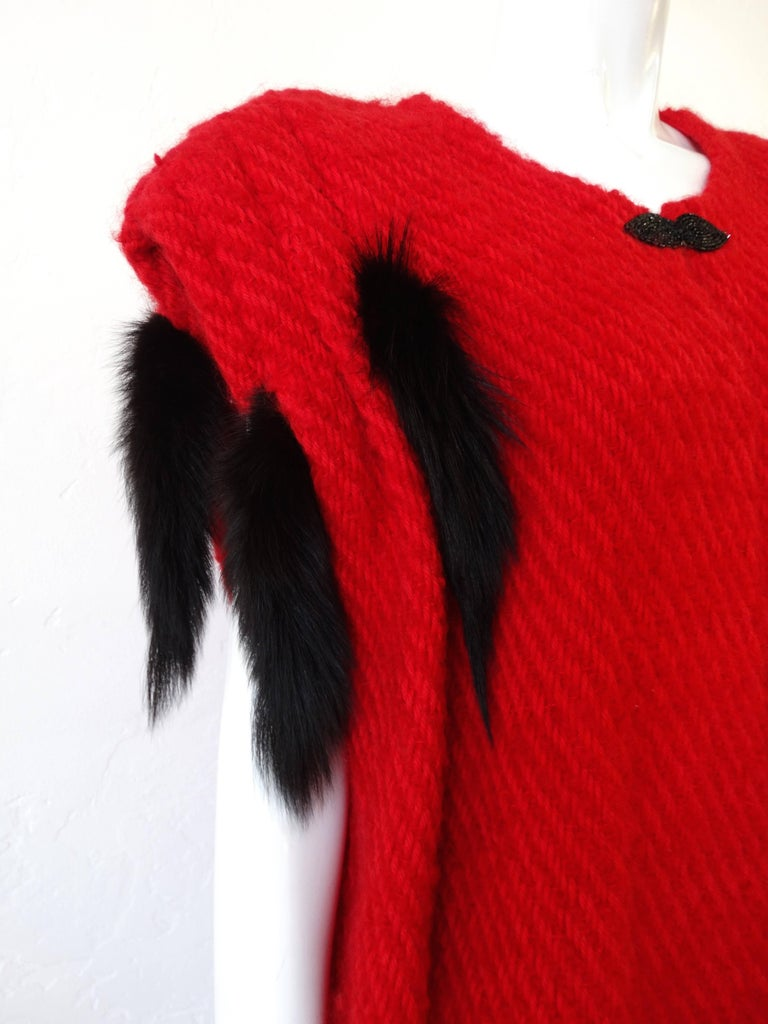 1980s Silver Lining Red Knit Mink Tail Vest For Sale 4