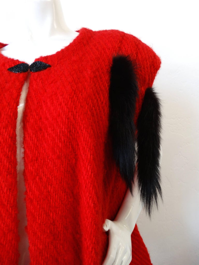 1980s Silver Lining Red Knit Mink Tail Vest For Sale 5