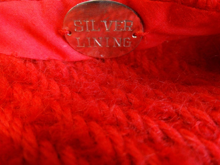 1980s Silver Lining Red Knit Mink Tail Vest For Sale 6