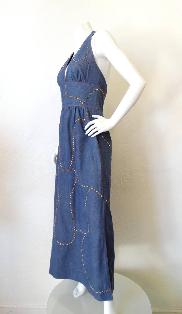 1970s Rhinestone Denim Halter Dress At 1stdibs