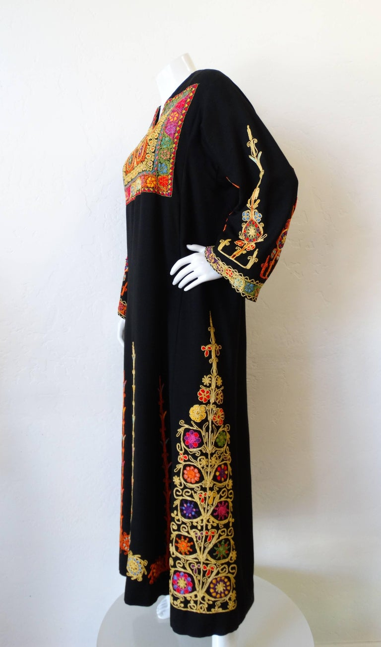 1970s Maskit Israel Embroidered Maxi Dress For Sale At 1stdibs