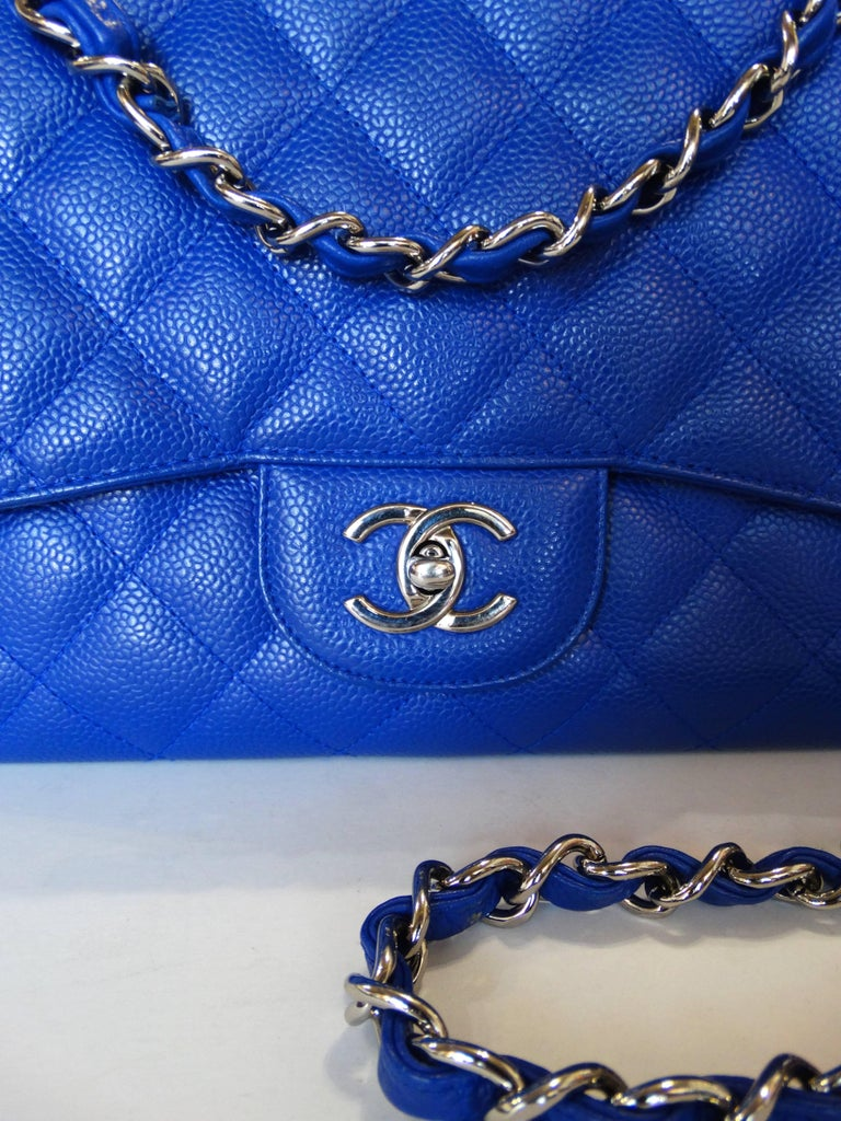 5daed7474c28 Chanel 10c Bleu Roi Caviar Jumbo Shoulder Bag, 2010 For Sale 3