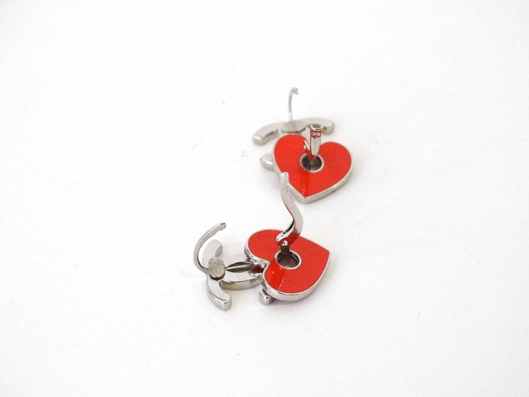 1990s Chanel Pink Cc Red Heart Enamel Earrings For 1