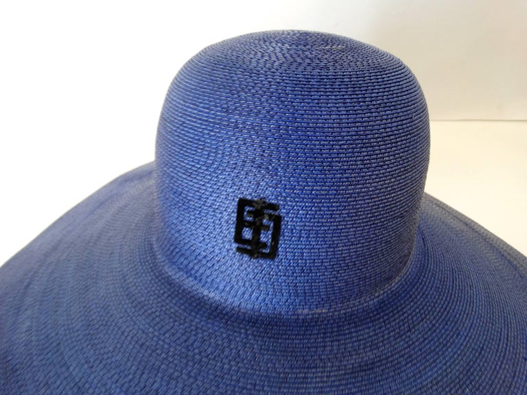 This is a fabulous vintage Emilio Pucci structured brim straw hat in  Colebalt bleu from the 85cd605f2d1f