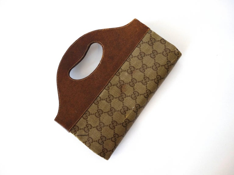1970s Gucci Monogram Canvas Vinyl Fold-over Hand Bag For Sale 1