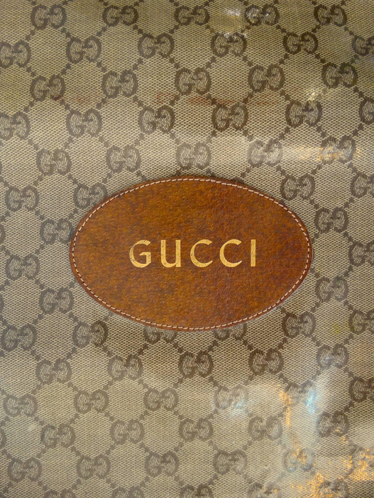 1970s Gucci Monogram Canvas Vinyl Fold-over Hand Bag In Excellent Condition For Sale In Scottsdale, AZ