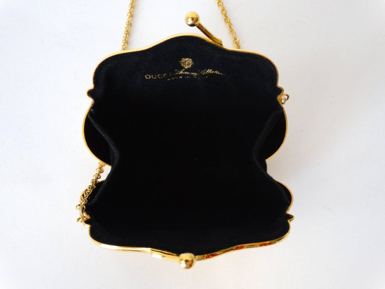 1970s Gucci Monogram Gold Metal Evening Bag For Sale 2