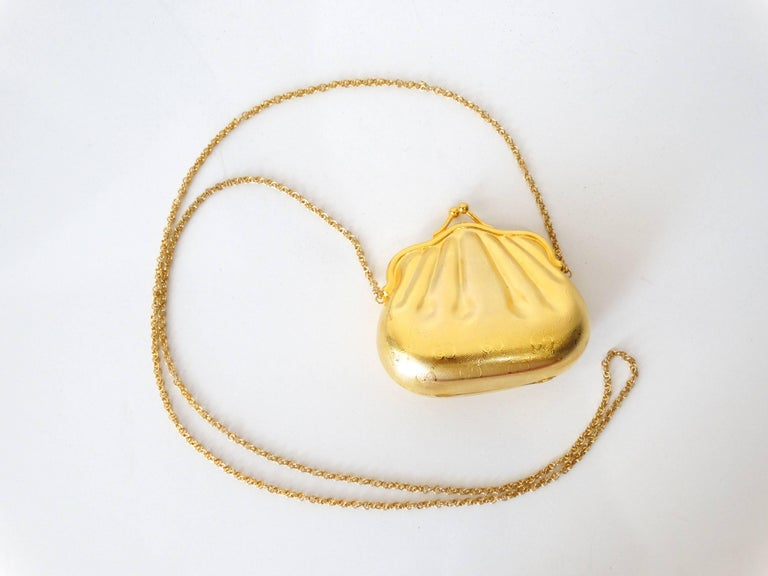 1970s Gucci Monogram Gold Metal Evening Bag For Sale 3