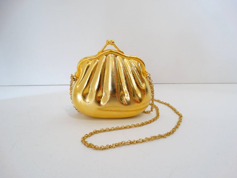 1970s Gucci Monogram Gold Metal Evening Bag 2