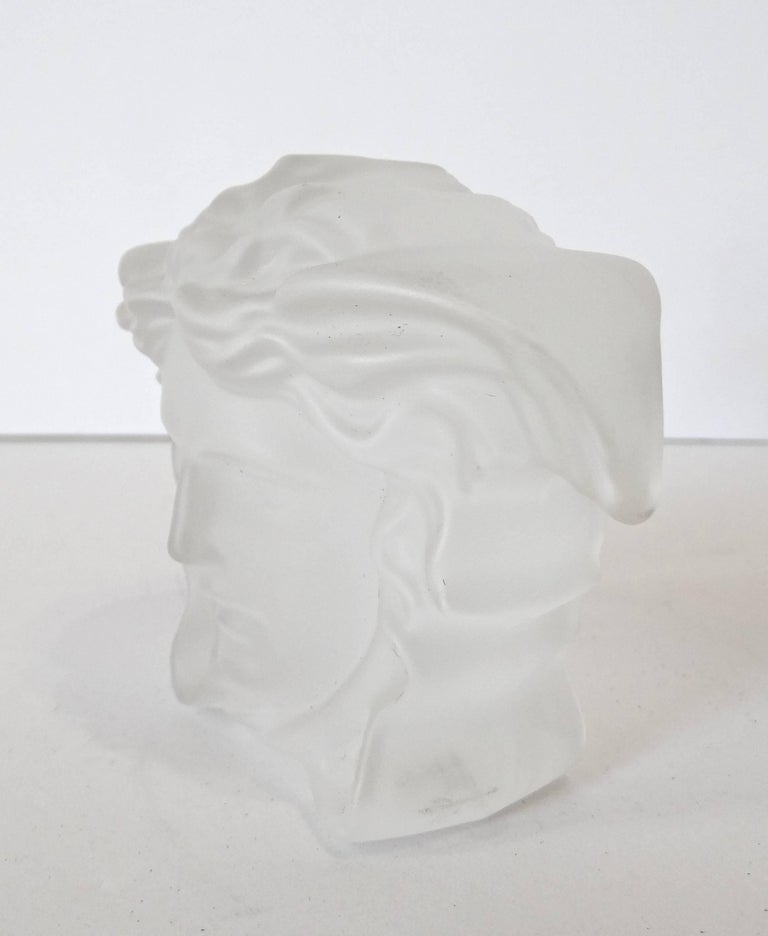 Women's or Men's Versace Medusa Head Frosted Paperweight For Sale