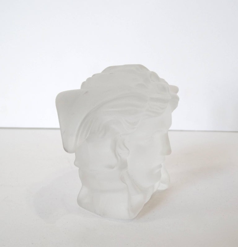 Versace Medusa Head Frosted Paperweight In Excellent Condition For Sale In Scottsdale, AZ