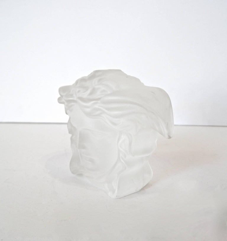 Gray Versace Medusa Head Frosted Paperweight For Sale