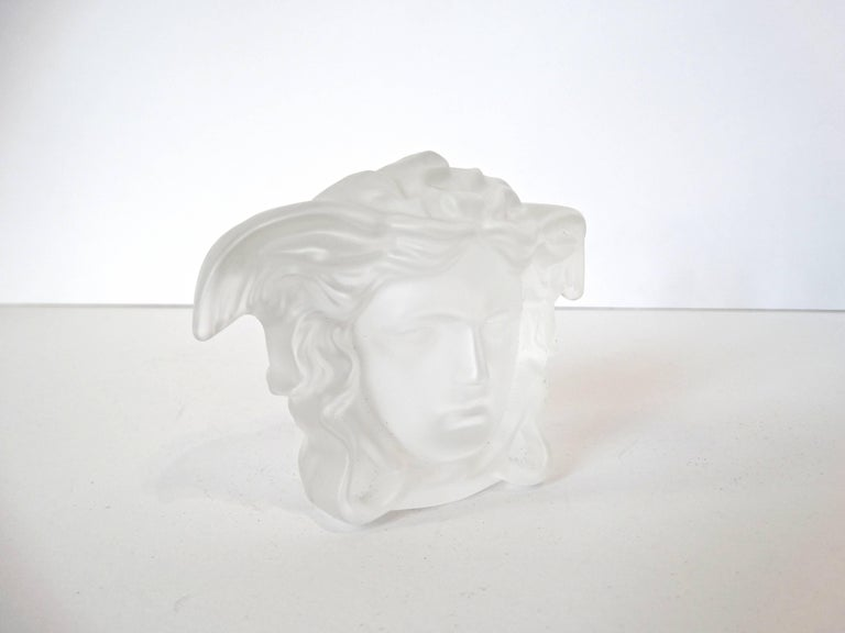 Versace Medusa Head Frosted Paperweight For Sale 3