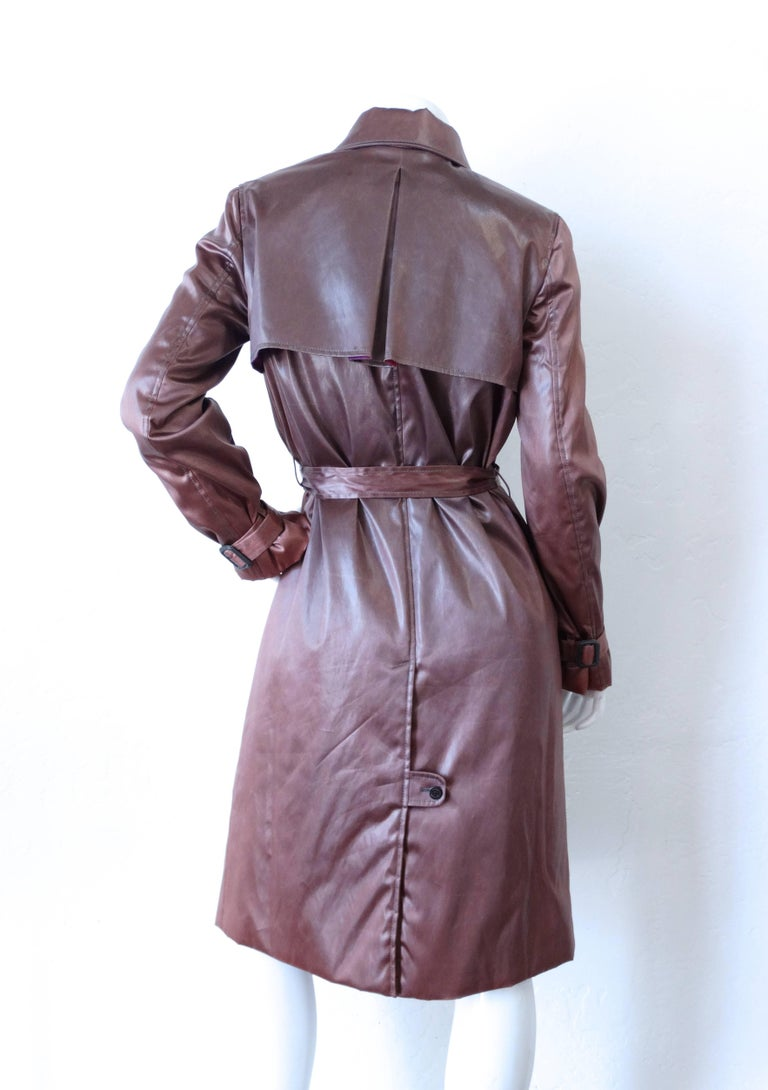 1990s Emilio Pucci Dusty Lilac Satin Trenchcoat  In Excellent Condition For Sale In Scottsdale, AZ