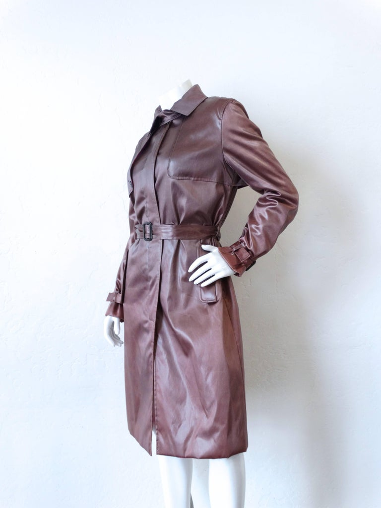 1990s Emilio Pucci Dusty Lilac Satin Trenchcoat For Sale