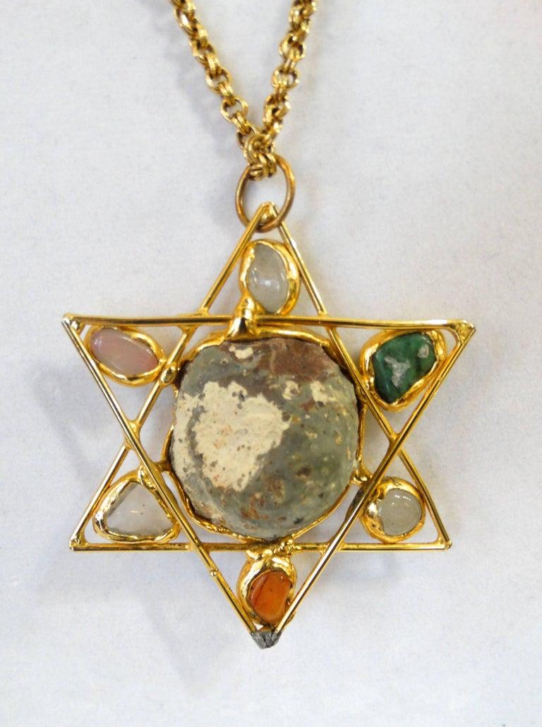 1970s Artisan Star Of David Quartz Necklace For Sale At