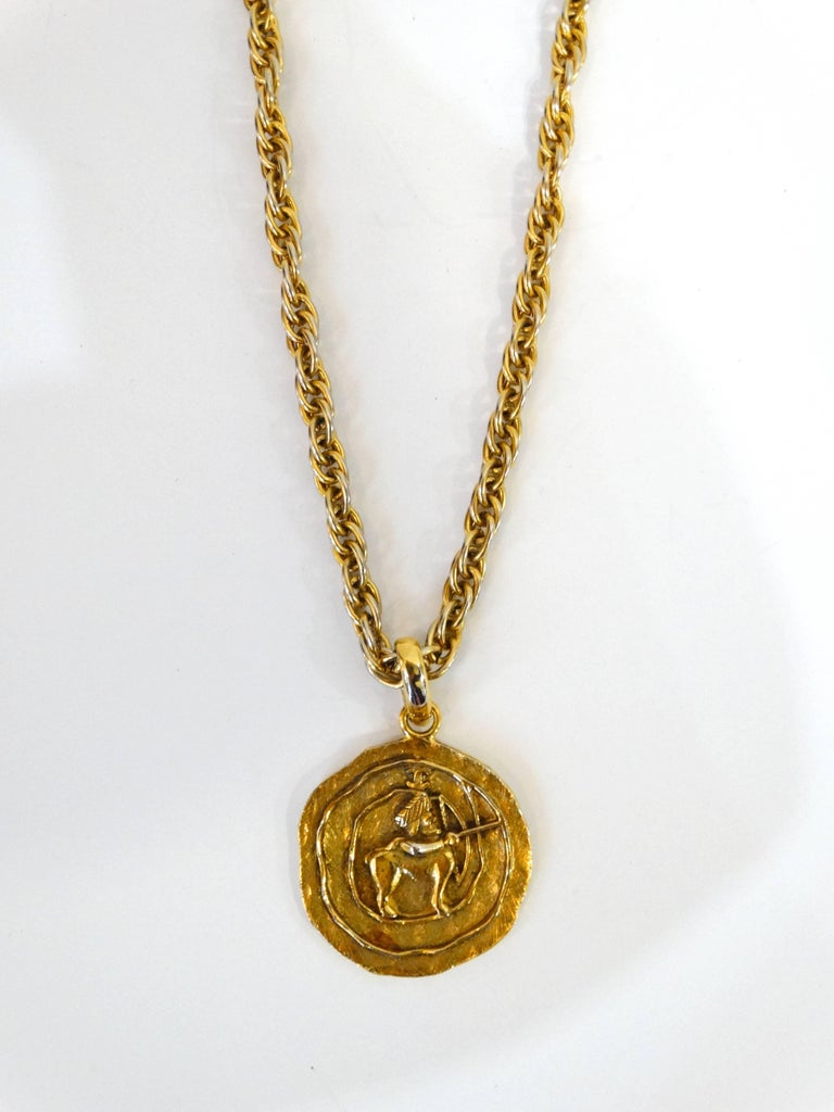 1984 Chanel Sagittarius Zodiac Medallion Necklace   7